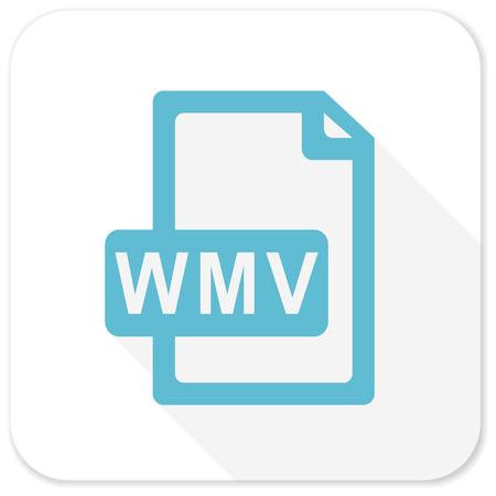 wmv: wmv file blue flat icon