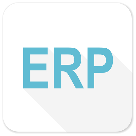 erp: erp blue flat icon Stock Photo