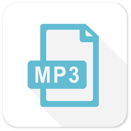 mp3: mp3 file blue flat icon Stock Photo