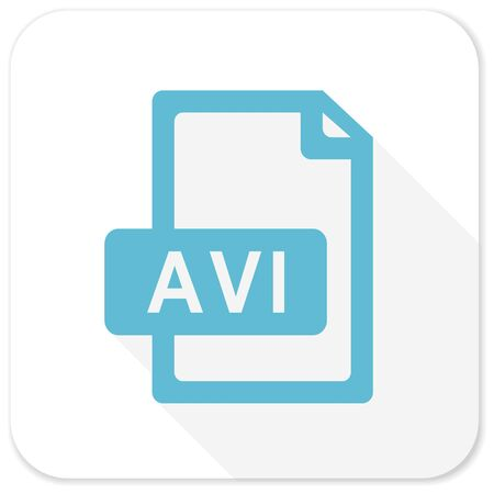 avi: avi file blue flat icon Stock Photo
