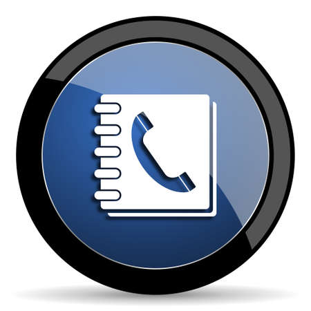phonebook: phonebook blue circle glossy web icon on white background, round button for internet and mobile app