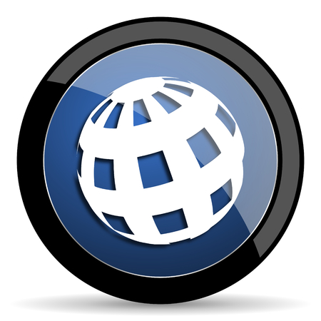meridian: earth blue circle glossy web icon on white background, round button for internet and mobile app