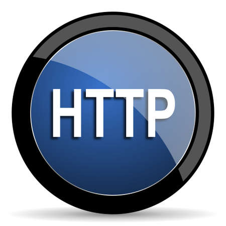 http: http blue circle glossy web icon on white background, round button for internet and mobile app