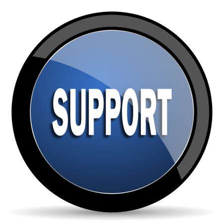 advisor: support blue circle glossy web icon on white background, round button for internet and mobile app