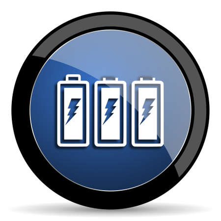 accuse: battery blue circle glossy web icon on white background, round button for internet and mobile app Stock Photo