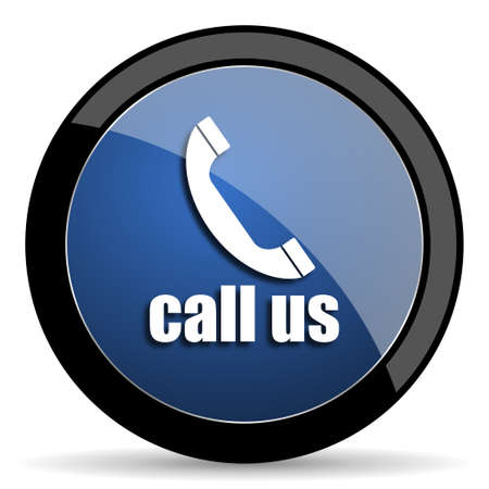 call us: call us blue circle glossy web icon on white background, round button for internet and mobile app