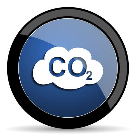carbon dioxide: carbon dioxide blue circle glossy web icon on white background, round button for internet and mobile app