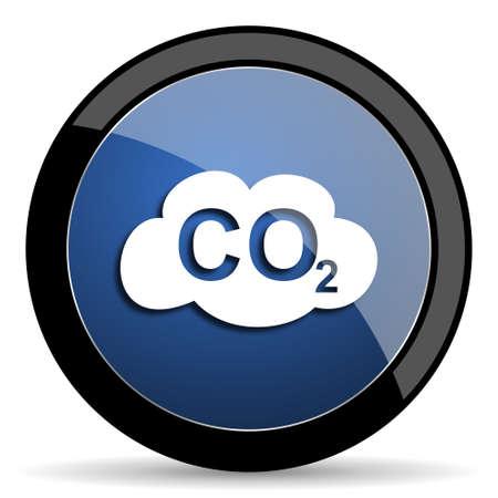 dioxido de carbono: el dióxido de carbono azul círculo icono web brillante sobre fondo blanco, botón redondo de internet y aplicaciones móviles