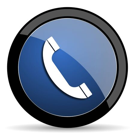 mobile app: phone blue circle glossy web icon on white background, round button for internet and mobile app