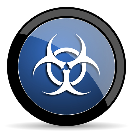 bacterioa: biohazard blue circle glossy web icon on white background, round button for internet and mobile app