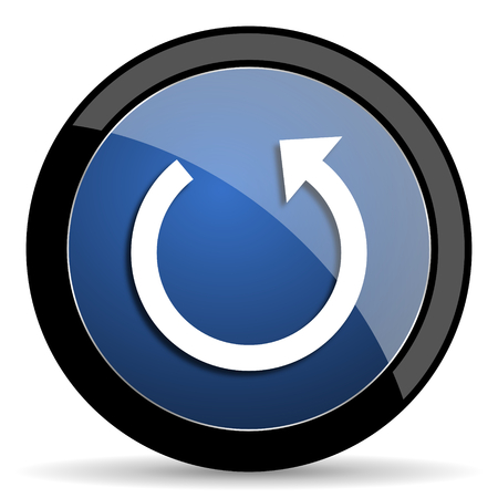 rotate: rotate blue circle glossy web icon on white background, round button for internet and mobile app