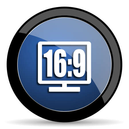 16 9: 16 9 display blue circle glossy web icon on white background, round button for internet and mobile app