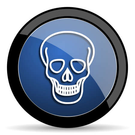pirating: skull blue circle glossy web icon on white background, round button for internet and mobile app
