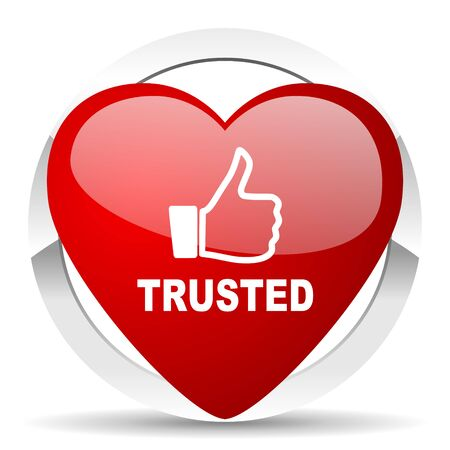 trusted: trusted red red heart valentine icon on white background