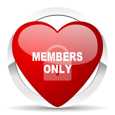 members only: members only red red heart valentine icon on white background