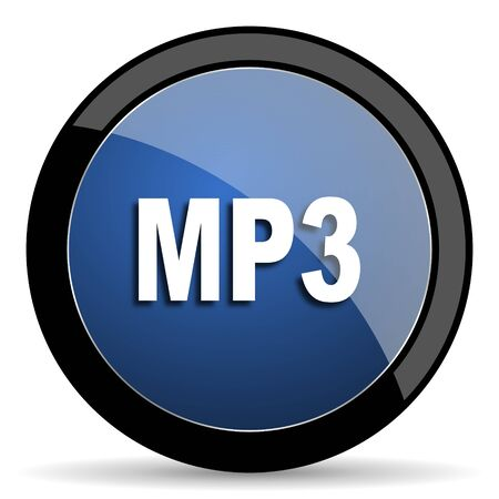 reading app: mp3 blue circle glossy web icon on white background, round button for internet and mobile app