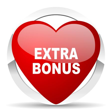 discounting: extra bonus red red heart valentine icon on white background Stock Photo