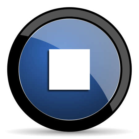 eject: stop blue circle glossy web icon on white background, round button for internet and mobile app