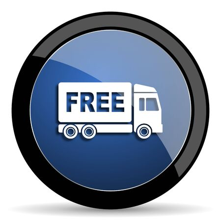 complimentary: free delivery blue circle glossy web icon on white background, round button for internet and mobile app Stock Photo