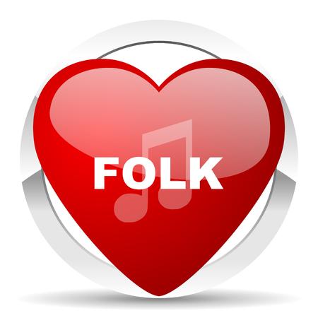 folk music: folk music red red heart valentine icon on white background Stock Photo