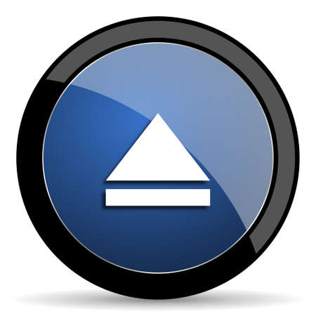 eject: eject blue circle glossy web icon on white background, round button for internet and mobile app