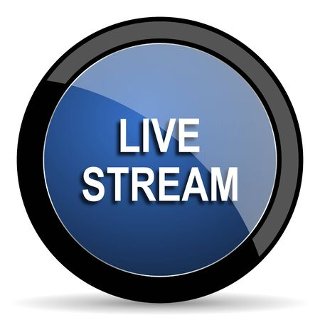 live stream button: live stream blue circle glossy web icon on white background, round button for internet and mobile app