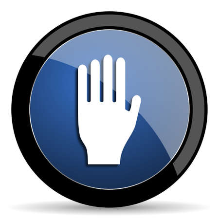 entrance is forbidden: stop blue circle glossy web icon on white background, round button for internet and mobile app