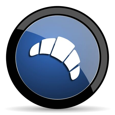 traditionally: croissant blue circle glossy web icon on white background, round button for internet and mobile app