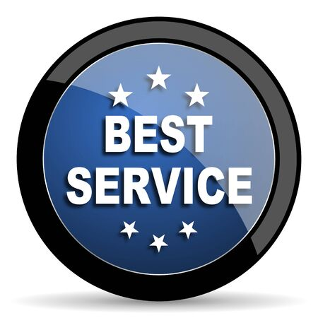 best service: best service blue circle glossy web icon on white background, round button for internet and mobile app