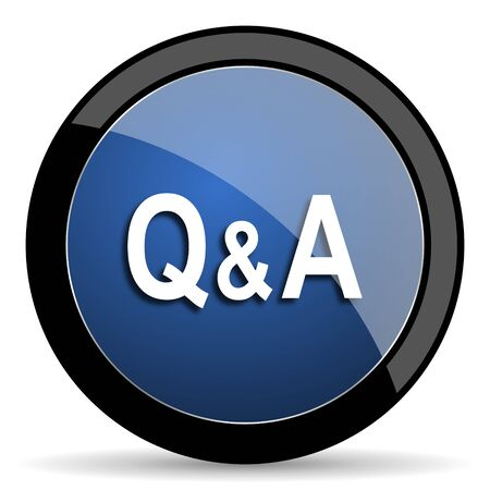question and answer: question answer blue circle glossy web icon on white background, round button for internet and mobile app
