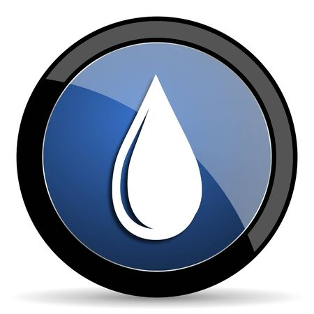 waterdrop: water drop blue circle glossy web icon on white background, round button for internet and mobile app