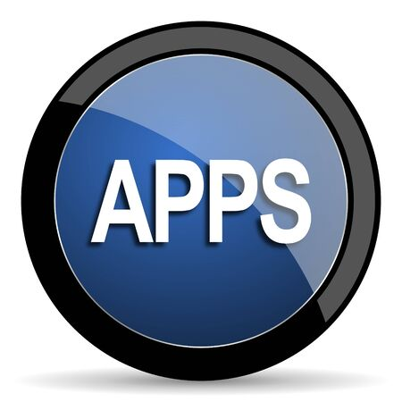 mobile apps: apps blue circle glossy web icon on white background, round button for internet and mobile app
