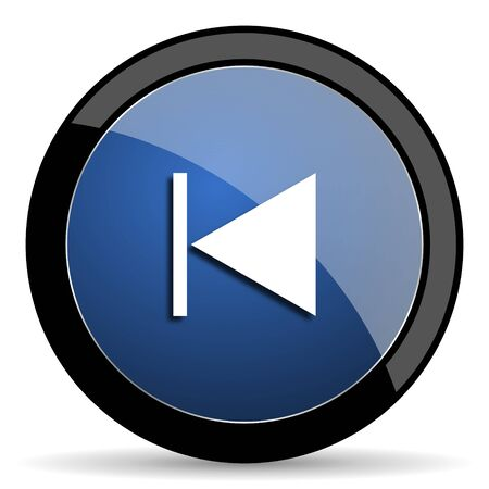reading app: prev blue circle glossy web icon on white background, round button for internet and mobile app