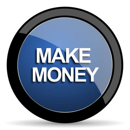 make money: make money blue circle glossy web icon on white background, round button for internet and mobile app