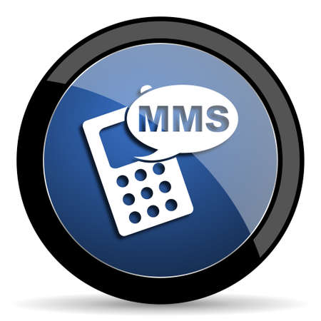 mms: mms blue circle glossy web icon on white background, round button for internet and mobile app