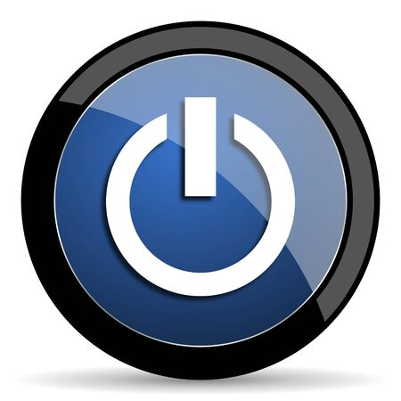 running off: power blue circle glossy web icon on white background, round button for internet and mobile app Stock Photo