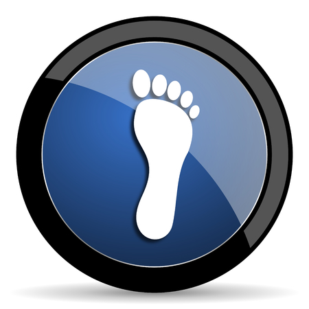 orthopedics: foot blue circle glossy web icon on white background, round button for internet and mobile app