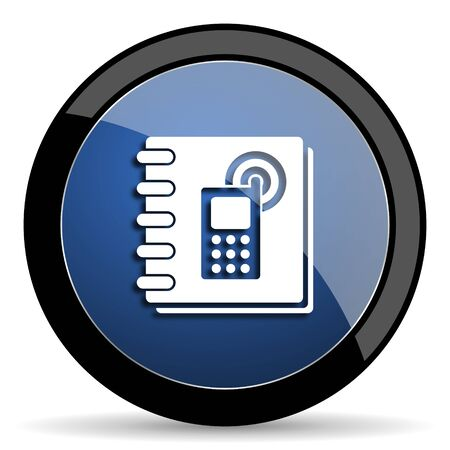contacting: phonebook blue circle glossy web icon on white background, round button for internet and mobile app