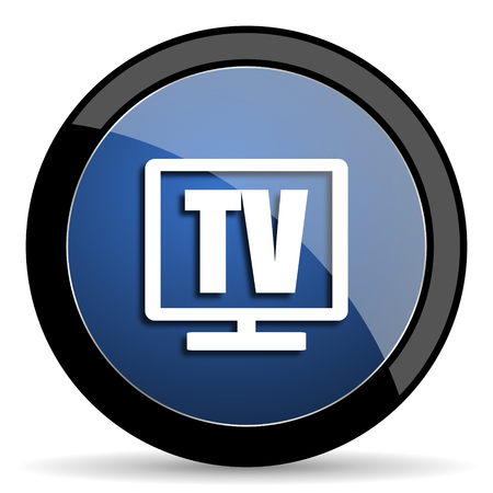 programm: tv blue circle glossy web icon on white background, round button for internet and mobile app Stock Photo