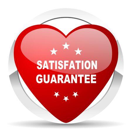 satisfaction guarantee: satisfaction guarantee red red heart valentine icon on white background