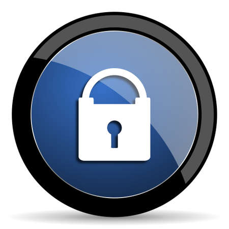 trusty: padlock blue circle glossy web icon on white background, round button for internet and mobile app