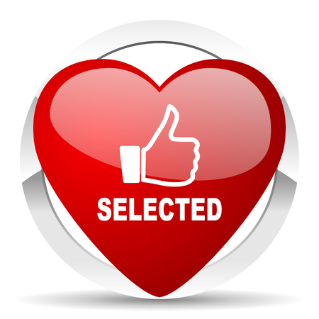 selected: selected red red heart valentine icon on white background Stock Photo