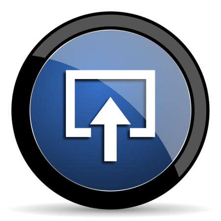 arrow icons: enter blue circle glossy web icon on white background, round button for internet and mobile app