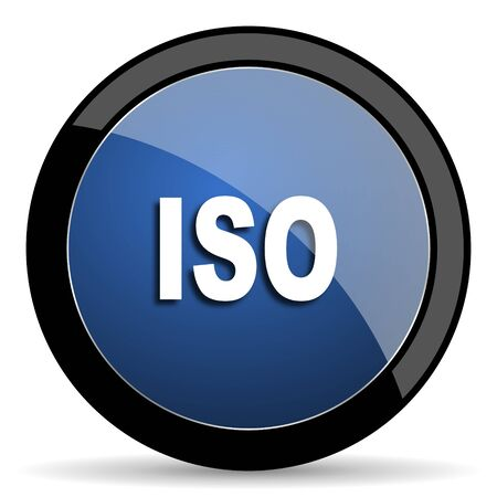 norm: iso blue circle glossy web icon on white background, round button for internet and mobile app