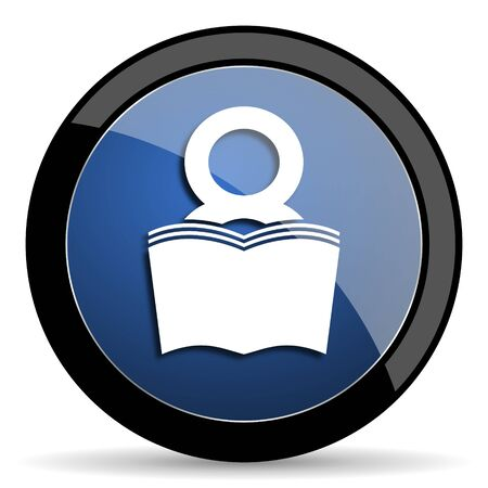 book blue circle glossy web icon on white background, round button for internet and mobile app