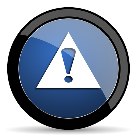 exclamation icon: exclamation sign blue circle glossy web icon on white background, round button for internet and mobile app Stock Photo