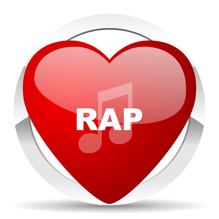listen live stream: rap music red red heart valentine icon on white background Stock Photo