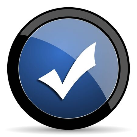 yea: accept blue circle glossy web icon on white background, round button for internet and mobile app