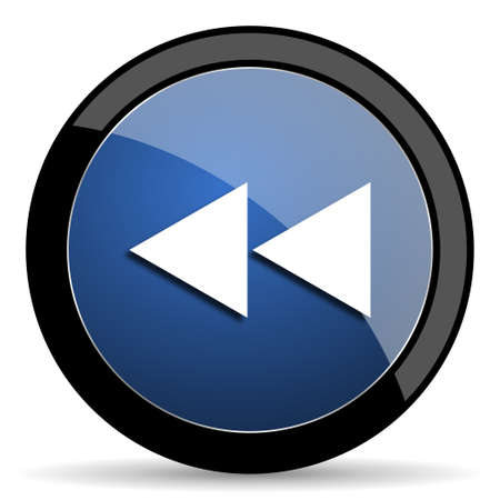 eject: rewind blue circle glossy web icon on white background, round button for internet and mobile app