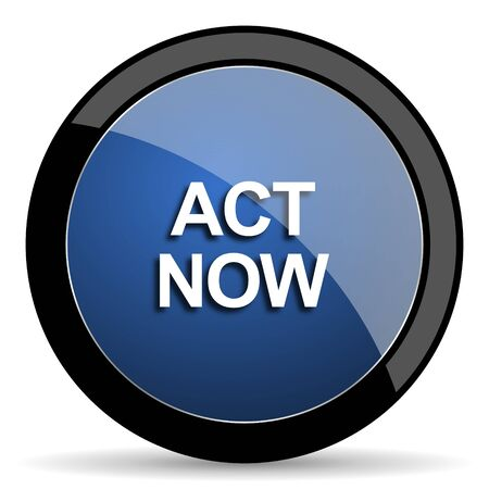act: act now blue circle glossy web icon on white background, round button for internet and mobile app Stock Photo